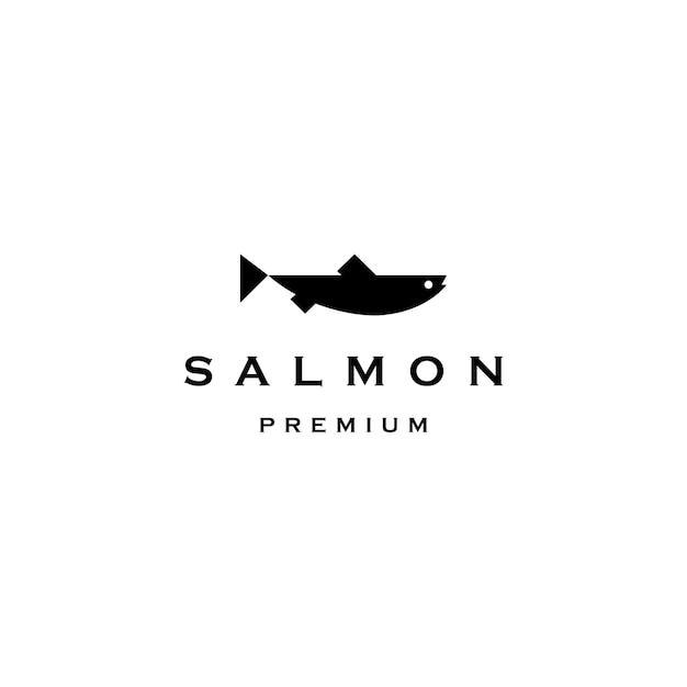 Lachsfischlogo-vektorikonenillustration Premium Vektoren