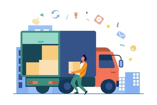 Laden des arbeiters, der kasten im lkw trägt. flache vektorillustration von paket, logistik, pappe. lieferservice und versandkonzept Kostenlosen Vektoren