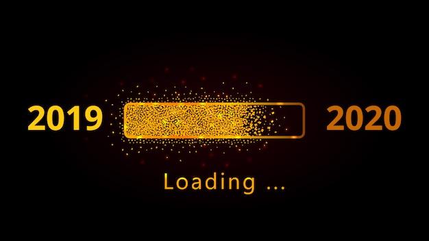 Laden des goldenen funkeln-fortschrittsbalkens des neuen jahres 2020 mit den roten scheinen lokalisiert auf schwarzem Premium Vektoren