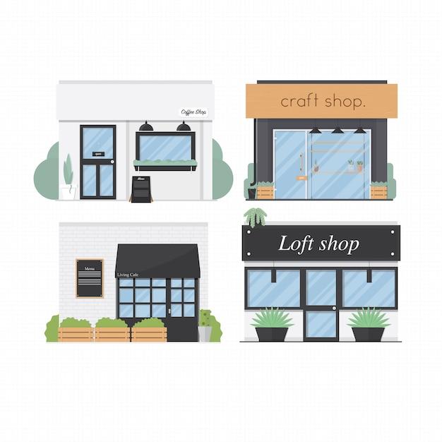 Ladenfronten stellten shop vektorillustrationshintergrund des flachen designs 4 ein Premium Vektoren