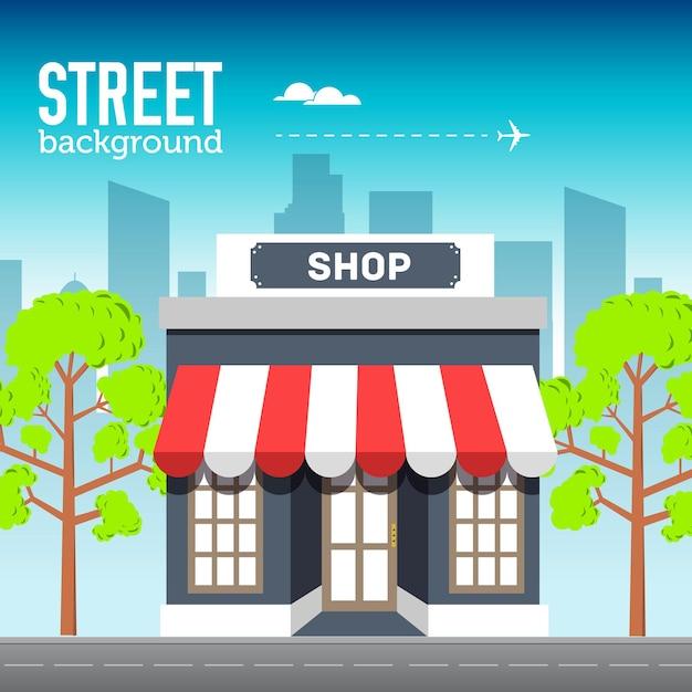 Ladengebäude im stadtraum mit straße auf flachem syle hintergrundkonzept Premium Vektoren