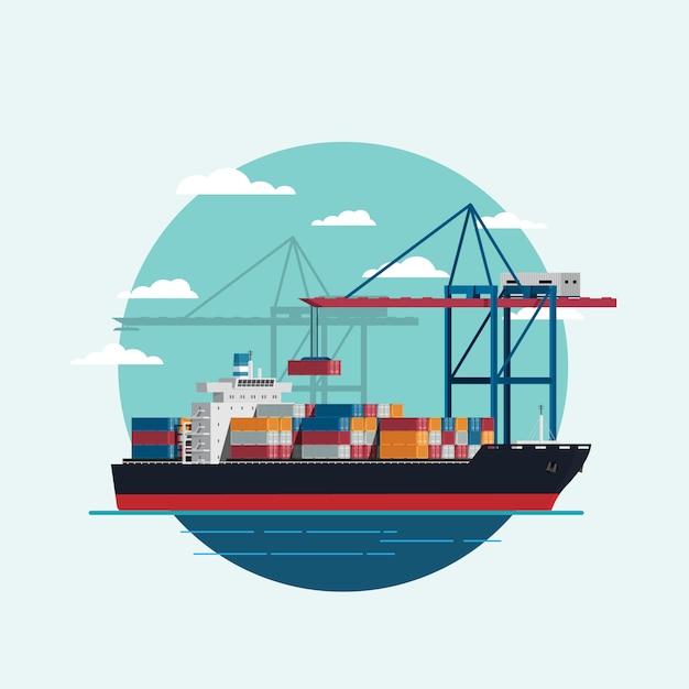 Ladungslogistik, die beladenes containerschiff mit arbeitskranimportexport-transportindustrie ist Premium Vektoren
