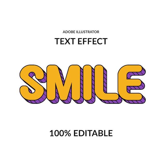 Lächeln sie spaß comic runde gelbe lila und linie bearbeitbare schriftart effekt für kinder anzeige Premium Vektoren