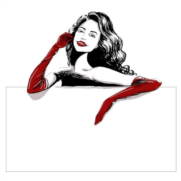 Lächelnde frau in der langen roten handschuhschablone Premium Vektoren