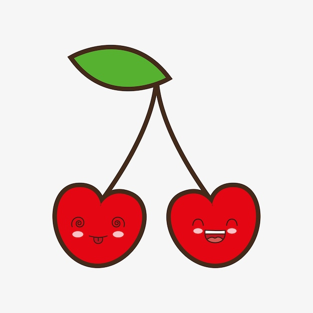 Lächelnde Gesunde Lebensmittelikone Der Kirsche Kawaii