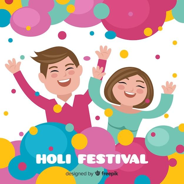 Lächelnde paar holi festival hintergrund Kostenlosen Vektoren