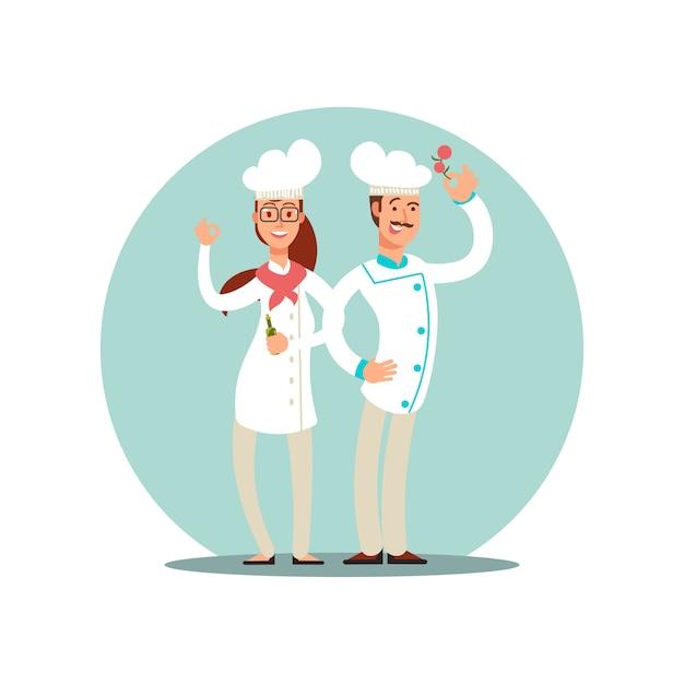 Lächelnde restaurantchefs, berufsköche in den einheitlichen flachen charakteren der küche Premium Vektoren