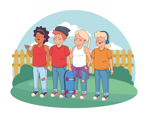 Lächelnde und grüßende jugendlichfreunde Premium Vektoren