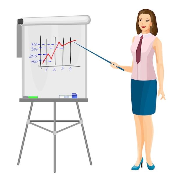Lächelnde uniformierte geschäftsfrau, die nahe flip-chart steht Premium Vektoren