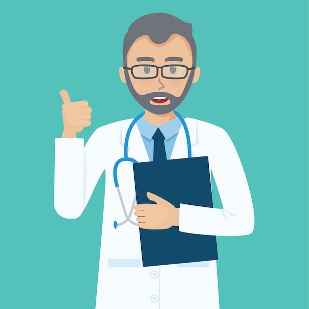 Lächelnder älterer doktor zeigt die daumen herauf die geste, die kühl ist. Premium Vektoren
