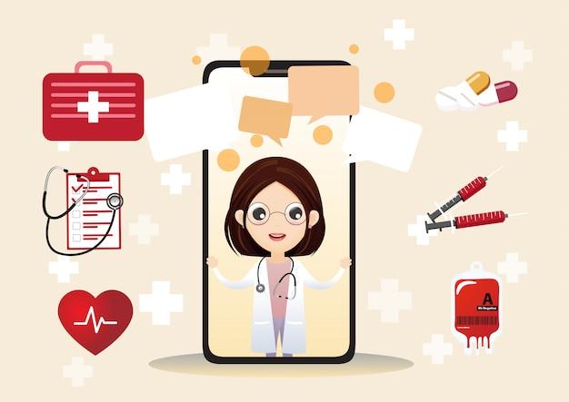 Lächelnder doktor auf dem telefonschirm Premium Vektoren