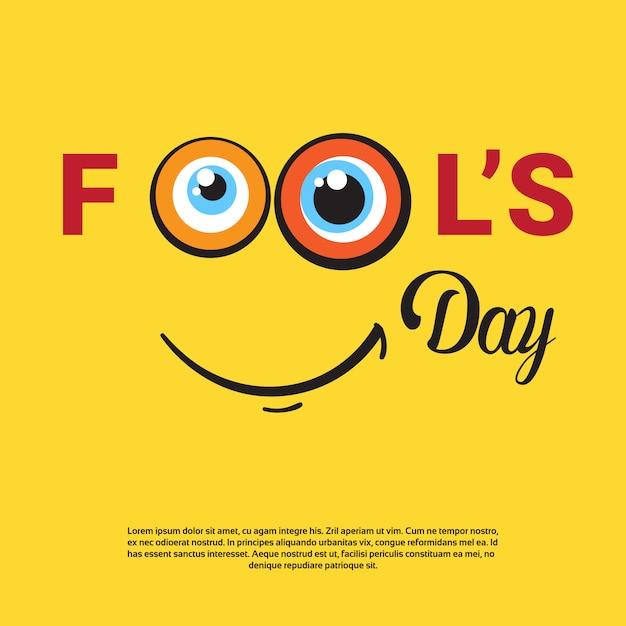 Lächelnder gesicht-erster aprilscherz-tag-glückliche feiertags-gruß-karte Premium Vektoren