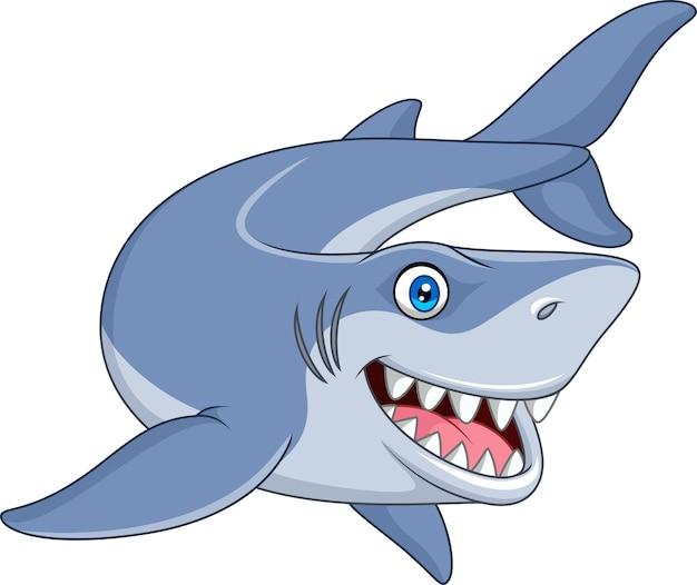 Lächelnder haifisch der karikatur Premium Vektoren