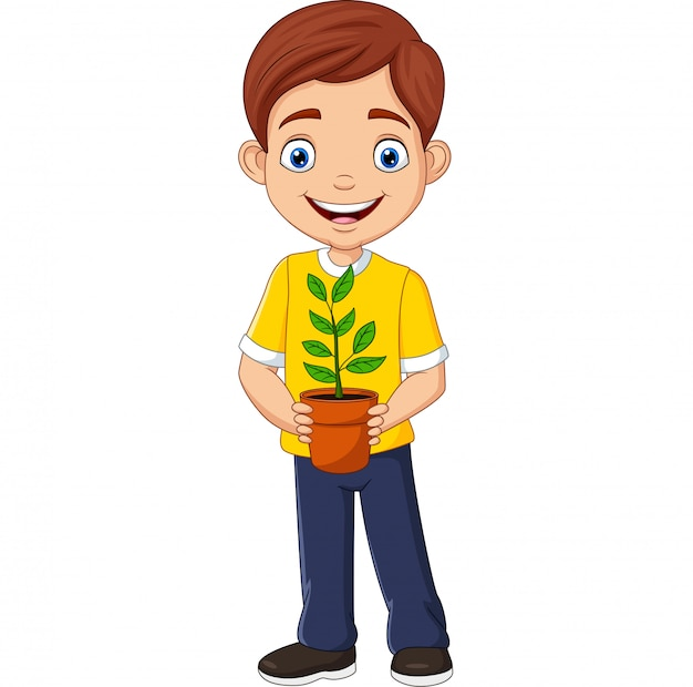 Lächelnder junge, der in der hand eine topfpflanze hält Premium Vektoren