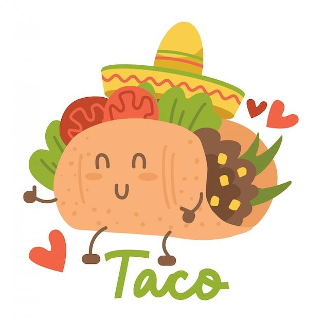 Lächelnder kawaii beäugter taco, der mexikanischen sombrerohut tanzt. karikaturillustration lokalisiert auf weißem hintergrund. humanisierter mexikanischer taco, der spaß hat Premium Vektoren