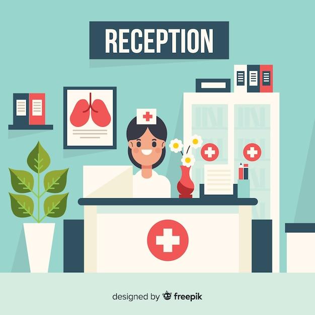 Lächelnder krankenschwesterhintergrund der krankenhausaufnahme Kostenlosen Vektoren