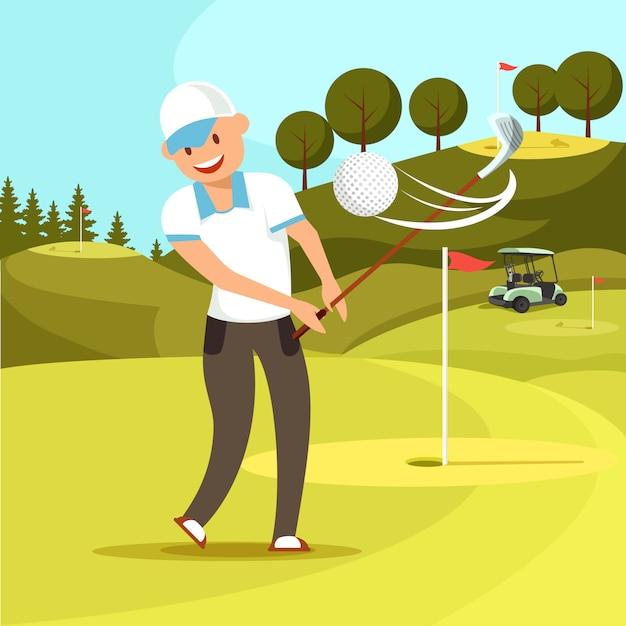 Lächelnder mann in der weißen sport-uniform schlug golfball. Premium Vektoren