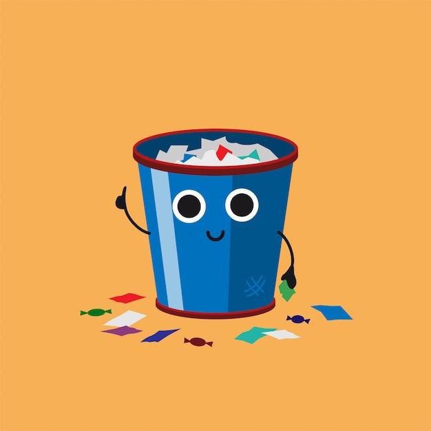 Lächelnder niedlicher überfließender abfalleimer mit mehrfarbenpapierabfall Premium Vektoren