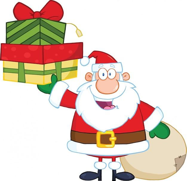 Lächelnder weihnachtsmann, der einen stapel geschenke hält Premium Vektoren