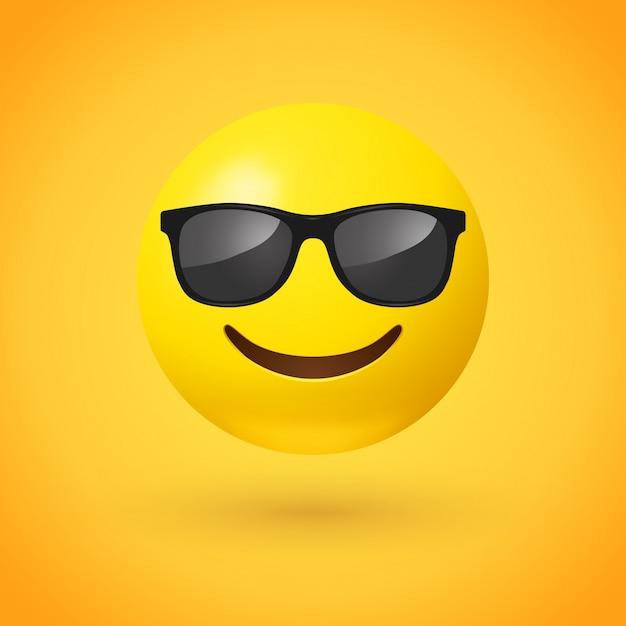 Lächelndes gesicht mit sonnenbrille emoji Premium Vektoren