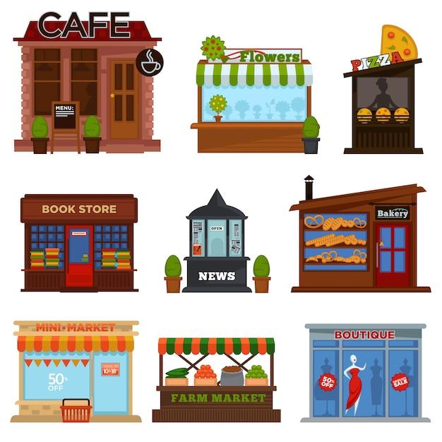 Läden und cafes eingestellt Premium Vektoren