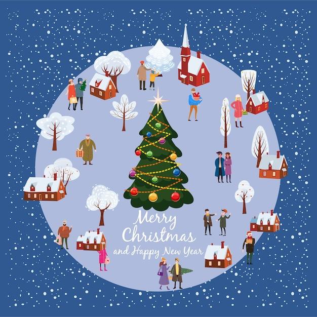 Ländliche landschaft des weihnachts- und neujahrswinterdorfes mit weihnachtsbaum und leuten Premium Vektoren