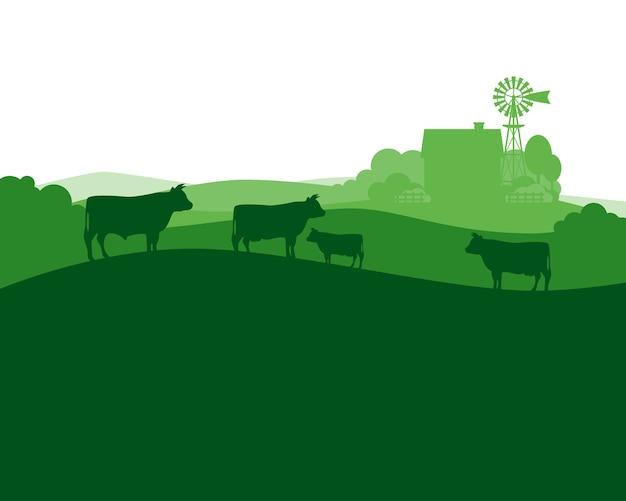 Ländliche landschaft mit milchbauernhof- und -herdekühen. Premium Vektoren