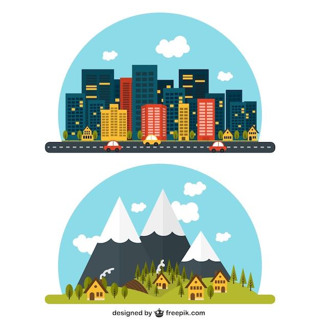 Ländliche und städtische landschaft Kostenlosen Vektoren