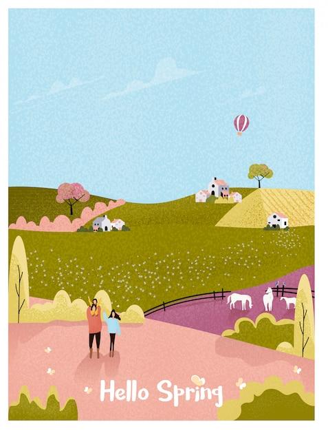 Ländlicher bauernhof im frühjahr oder sommerlandschaftspostkarte glückliche familie mit kind im natürlichen bauernhof rosa und grüner farbton der weinlese mit geräuschen und körnigem. Premium Vektoren