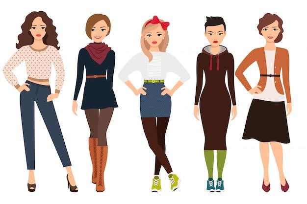 Lässige mode für süße frau. karikaturjugendliche in der täglichen kleidervektorillustration Premium Vektoren