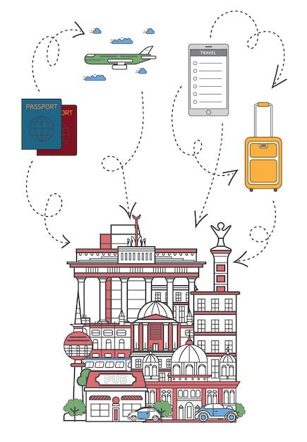 Lässt reiseillustration in der linearen art Premium Vektoren