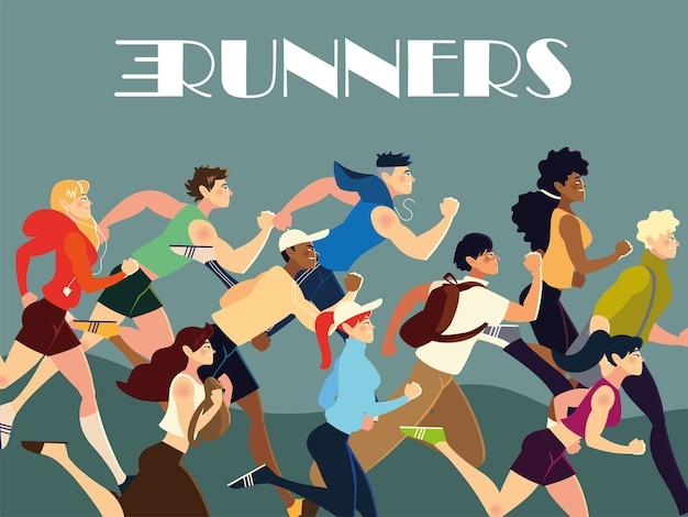 Läufer menschen charaktere üben verschiedene aktivität lebensstil illustration Premium Vektoren