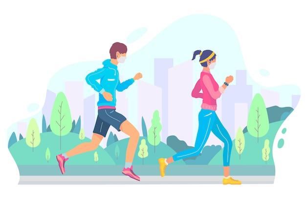 Läufer mit medizinischen masken im freien Kostenlosen Vektoren