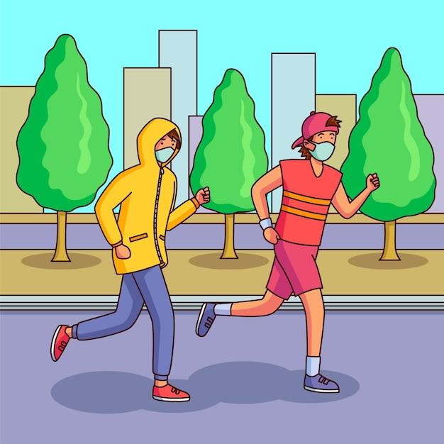 Läufer mit medizinischen masken Kostenlosen Vektoren