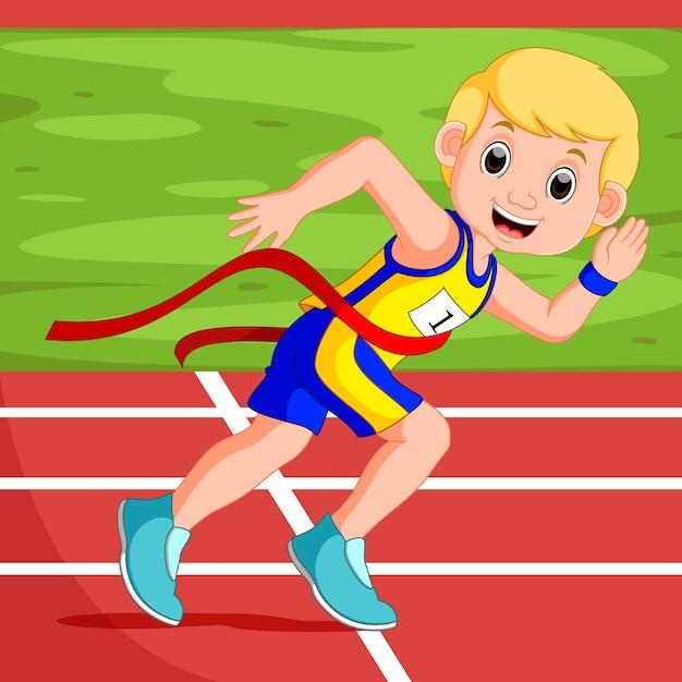 Läufermann, der ein rennen gewinnt Premium Vektoren