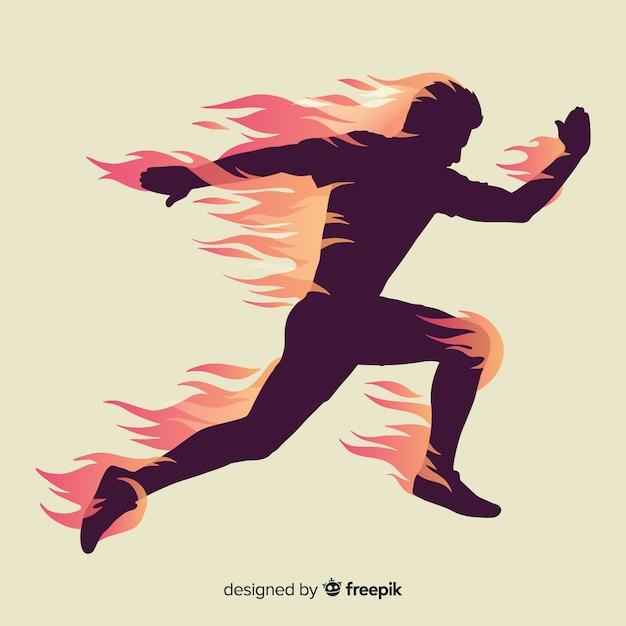 Läuferschattenbild im flachen design der flammen Kostenlosen Vektoren