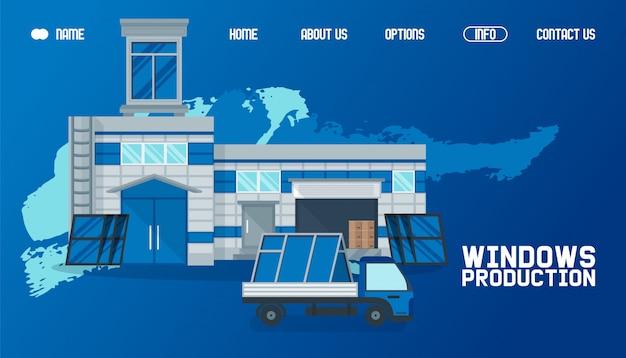 Lager außerhalb, fensterproduktion website illustration. produkttransport per fracht, weltweite lieferung funktioniert Premium Vektoren