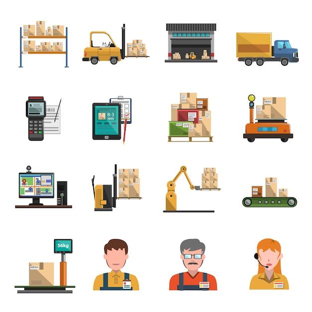 Lager icons flach Kostenlosen Vektoren