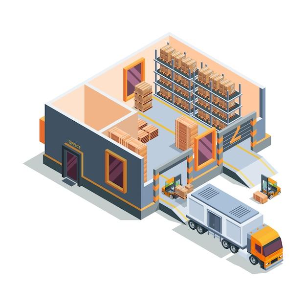 Lager isometrisch. große lagerhausmaschinen gabelstapler transport und verladung lkw lagergebäude querschnitt Premium Vektoren