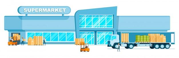 Lager-lkw, der fracht im supermarkt entlädt Premium Vektoren