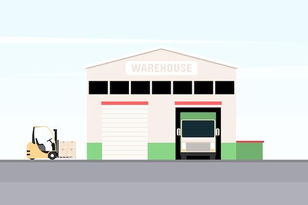Lager mit ladewagen und gabelstapler. Premium Vektoren