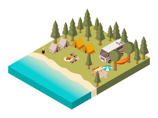Lager nahe isometrischer illustration des sees Kostenlosen Vektoren