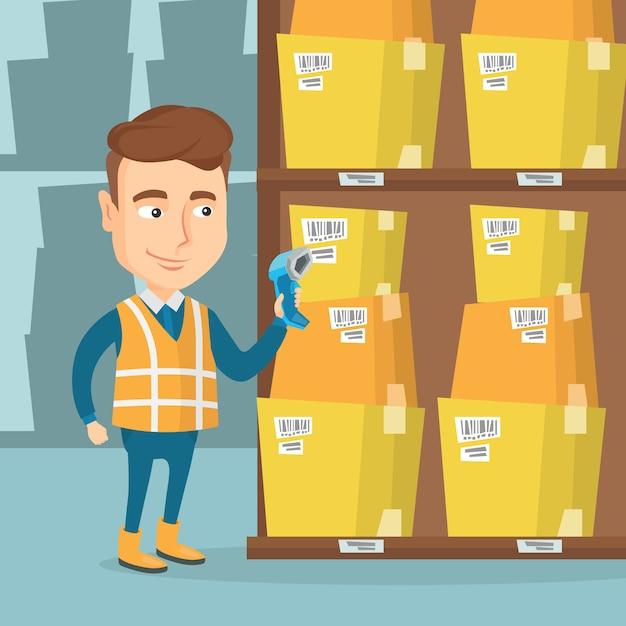 Lagerarbeiter, der barcode auf kasten scannt. Premium Vektoren