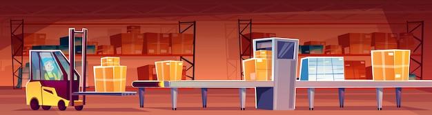Lagerarbeiter im gabelstaplerlader setzen pakete auf förderband Kostenlosen Vektoren