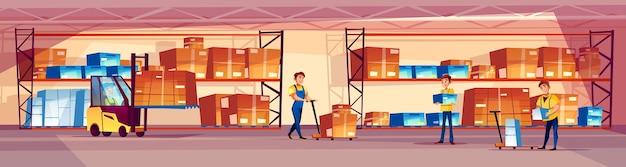 Lagerarbeiterillustration des logistikspeicherraumes mit waren auf regal Kostenlosen Vektoren