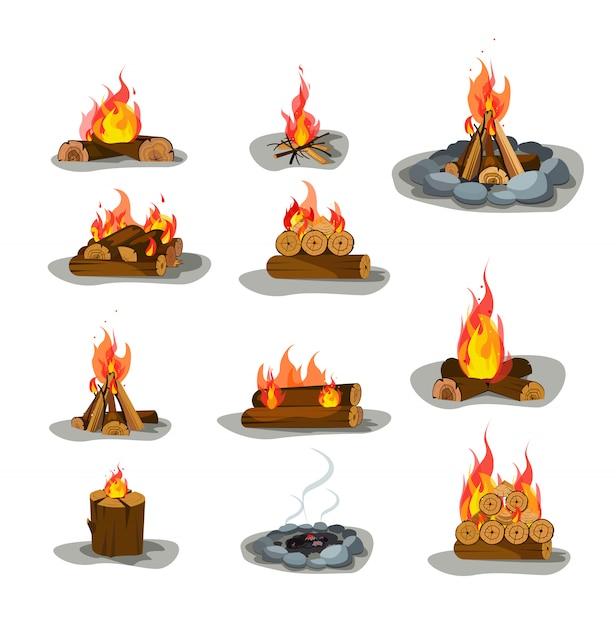 Lagerfeuer s eingestellt Kostenlosen Vektoren