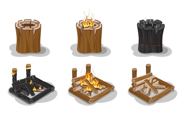 Lagerfeuer set isoliert Premium Vektoren