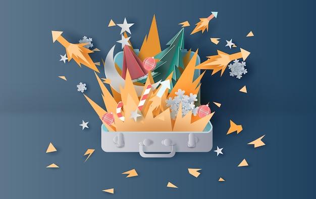 Lagerfeuer und feuerwerkskunst weihnachten Premium Vektoren