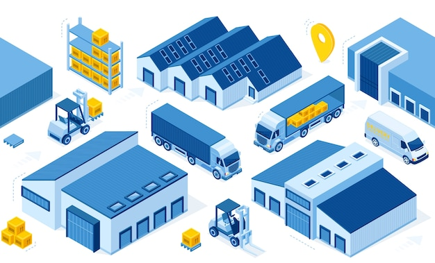 Lagerindustrie mit lagergebäuden Kostenlosen Vektoren
