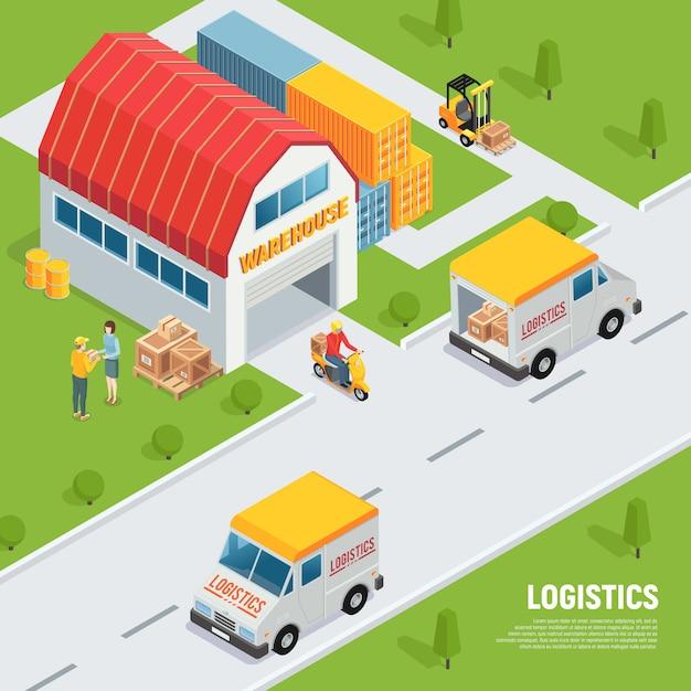 Lagerlogistikversand, der isometrische zusammensetzung der warenausrüstung mit lieferwagenvorratsbehälter-gabelstaplerillustration empfängt Kostenlosen Vektoren